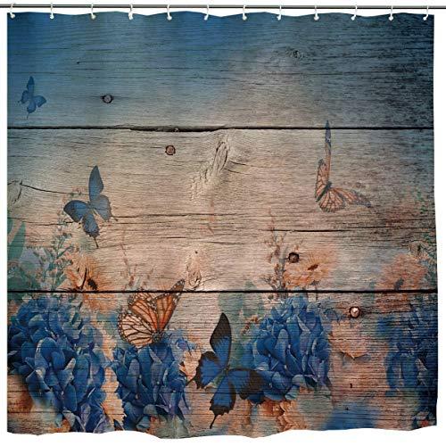 Flower Butterfly Shower Curtain,Blue Vintage Butterfly Flower Floral Rustic Wooden Watercolor Ombre Monarch Grunge Art Print,Waterproof Fabric Bathroom Decor Set with Hooks,72x72 Inch,Blue,Beige