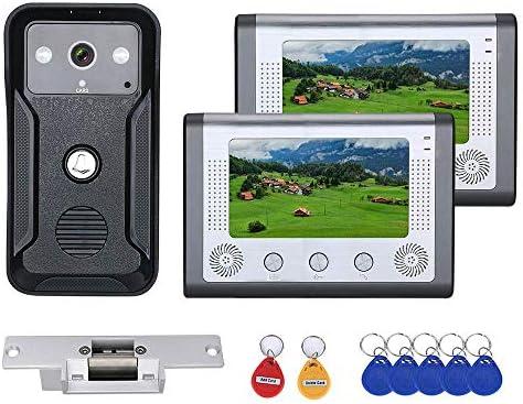 電気ストライクロック付き7インチ2Monitorsカラービデオインターホンドア電話RFIDシステムとHDドアベル1000TVLカメラ