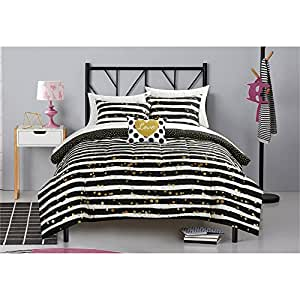 gold black and white bedroom gold glitter stripe and polka dot bed in a bag 18787