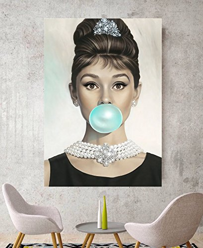 Audrey Hepburn Blue Bubblegum Canvas Wall Art Picture Print Canvas ...