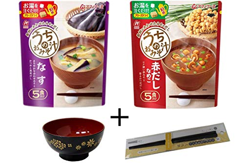 Amano Foods freeze-dried miso soup total 10 packs and Japanese soup bowl & chopsticks No.a088 by Amano foods