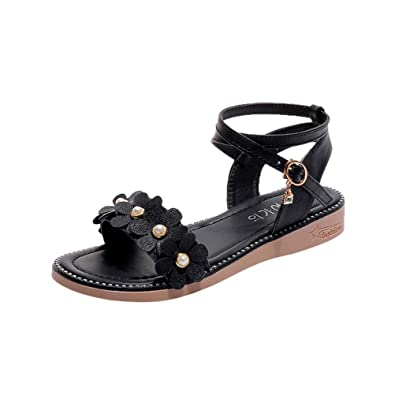15ad421a2275 Ladies Sandals Jamicy Rome Sandals Women Summer Flower Rhinestone Leather  Non-Slip Flat Buckle Shoes