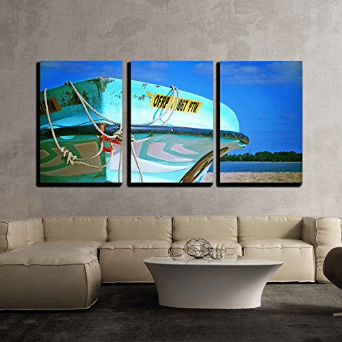 Wall26   3 Piece Canvas Wall Art   Turquoise Boat On The Beach   Modern Home Decor Stretched And Framed Ready To Hang   16 X24 X3 Panels