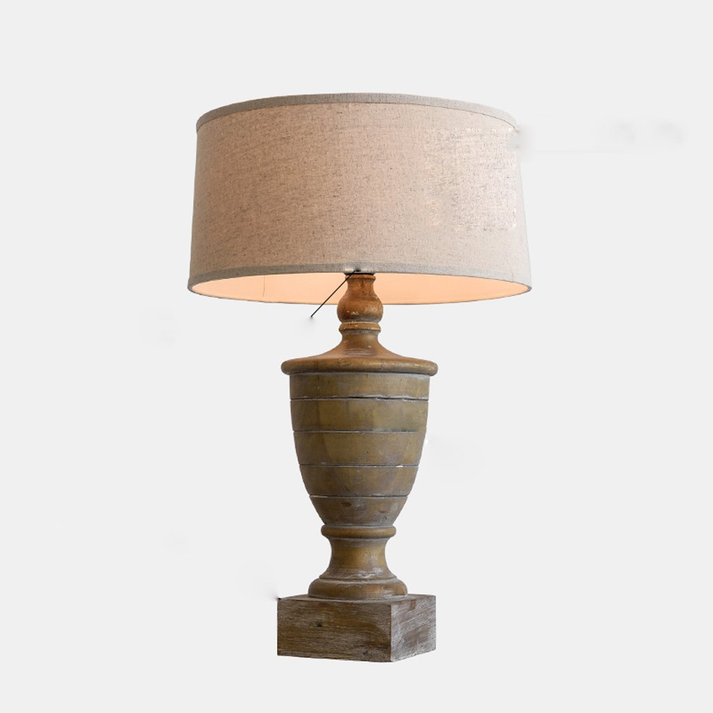 Hanlon E27-Schraubsockel, Tischlampe American Village Dekoration Schlafzimmer Nachttischlampe Europäischen Stil Upscale Hotel Club Kreative Wooden Retro Wohnzimmer Tischlampe