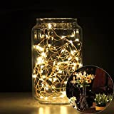 Kowba Led String light,2 Set of Micro 20 LEDs Super Bright Warm White Color Wire Rope Lights Battery Operated on 6.5Ft Long for Christmas,Holiday,Party Decoration Light
