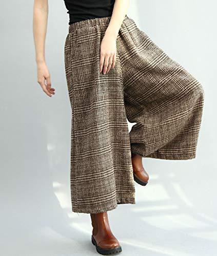 Aeneontrue Pantalon Capri Chèque Pantalons Hiver Avec Décontractée Femme Large Laine Automne Culottes Noir Taille Élastique UU5wqfrx
