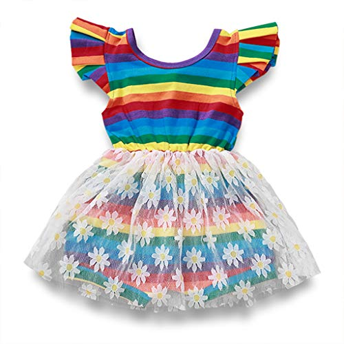 Toddler Baby Girls Summer Outfits Rainbow Back Strap Lace Floral Tutu Sundress Skirt Sets