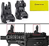 IMI Defense TFS Black Automatic Deploy Weaver Picatinny Front & Rear Set Flip Back Up AR15 AR-15 M16 M4 Flattop Low Profile Polymer Iron Sight Mount + Ultimate Arms Cloth
