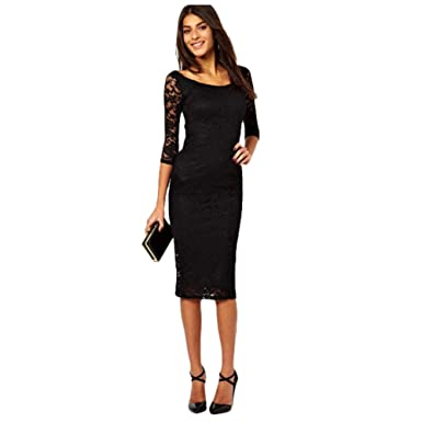 Amazon Round Neck Thin Slim Hip Lace Sexy Evening Dress Tight