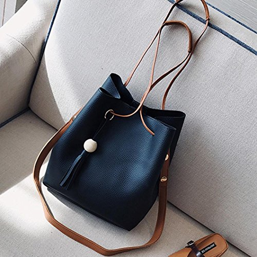 Retro Black Handbags Artificial Women Shoulder Tassel Leather Card Small Holder Bucket 4Pcs HCFKJ Bag qUCAwA