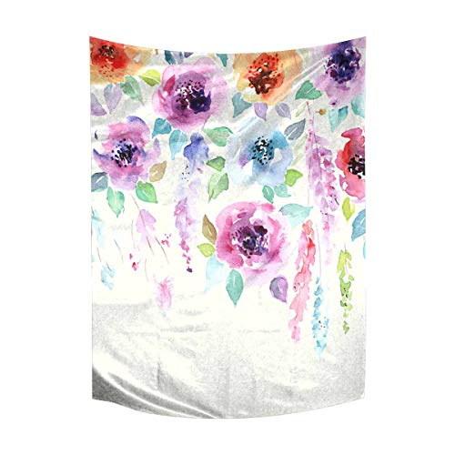 Bouquet Wall Tapestry - InterestPrint Watercolor Floral Bouquet Spring Flowers Tapestry Wall Hanging Art Cotton Linen Tapestries for Living Room Bedroom Dorm Decor, 40