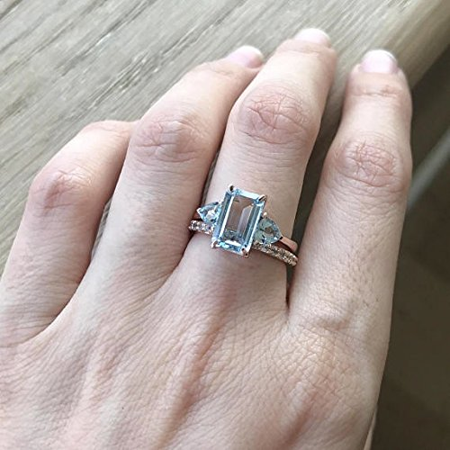 Amazoncom Rose Gold Aquamarine Ring 1 carat Aquamarine Engagement
