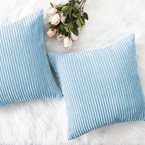 HOME BRILLIANT Decorative Soft Velvet Corduroy Striped Square Throw Pillow Cushion Cover for Couch, 18 x 18 inch(45cm), Turquoise, 2 -