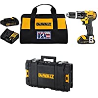 DEWALT DCD785C2 20V MAX Lithium Ion Compact 1.5 Ah Hammer Drill/Driver Kit with DWST08130 ToughSystem Suitcase
