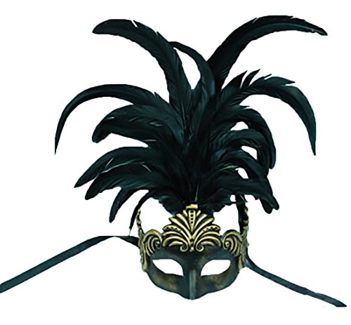 Faerynicethings Roman Style Mask With Feathers - Vegas Show Girl - Burlesque - Antiqued (Vegas Style Burlesque Costumes)