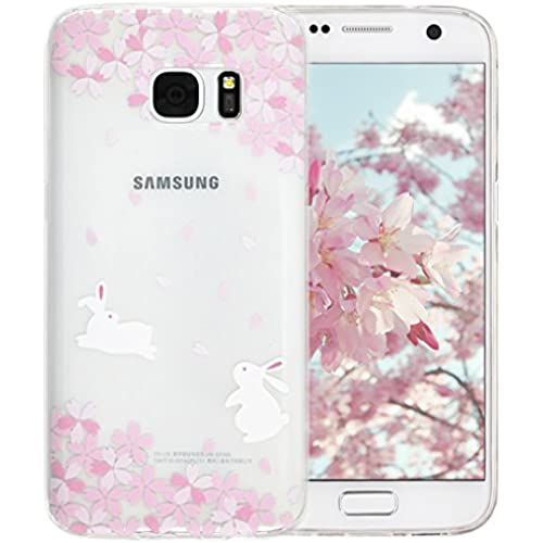 Galaxy S7 Case, A-Focus Rabbits Play Under Pale Pink Sakuwa Flowers Cherry Blossoms Fashion Creative Design Soft Slim Fit TPU Case for Samsung Galaxy S7 Sales