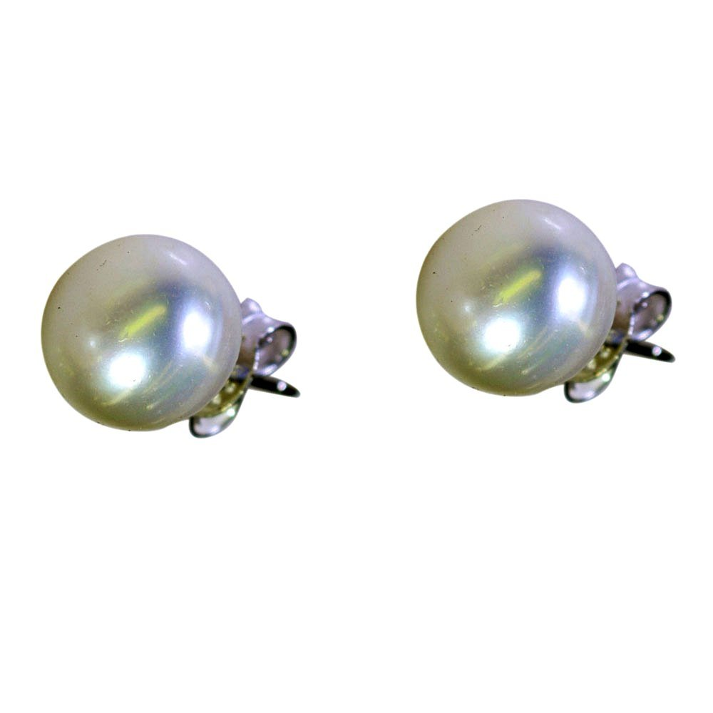 Natural Pearl Ball Earrings For Women Sterling Silver Astrological Fashion Jewelry Push Back Round Shape