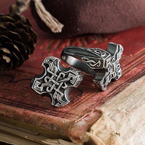 handmade Odin cross, high cross ring, Celtic knot, pattern, Endless knot, eternal knot, viking ring