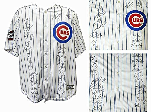 2016 Chicago Cubs Team Autographed/Signed Chicago Cubs Joe Maddon White Pinstripe Majestic Jersey w/2016 WS Patch 26 Sigs - Authentic Signature