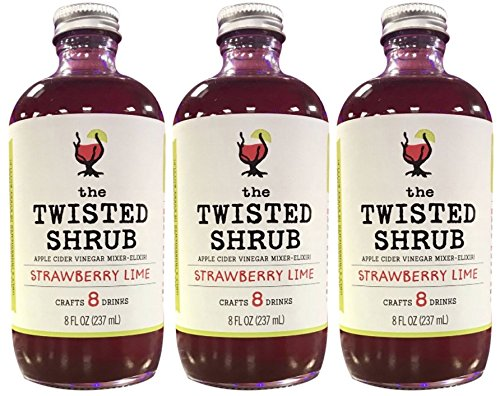 The Twisted Shrub - STRAWBERRY LIME (Pack of 3) - Handcrafted Apple Cider Vinegar drink mixer for Cocktails & Sodas (Cider Strawberry)