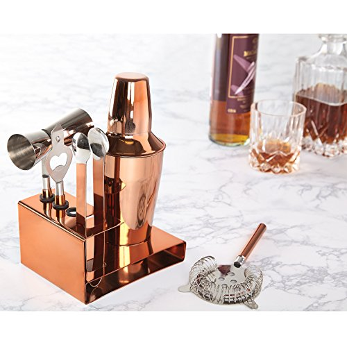 Miko Premium Cocktail Bar Set  High Grade Stainless Steel 6 Piece Set  Made In India  Rose Gold