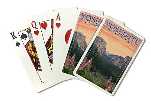 - Yosemite National Park, California - Bear and Cubs with Flowers (Playing Card Deck - 52 Card Poker Size with Jokers)