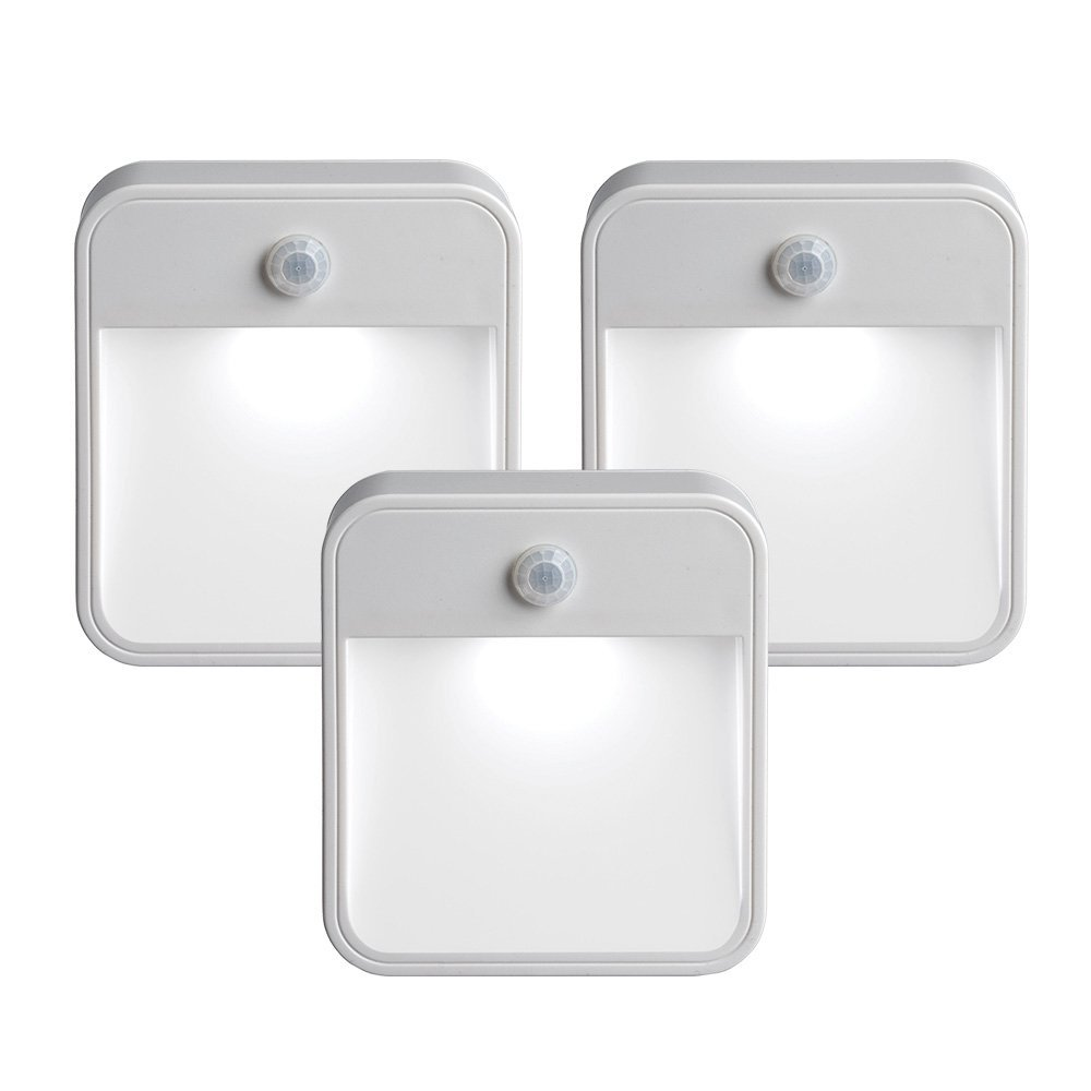 Mr. Beams MB 723 MB723 Battery-Powered Motion-Sensing LED Stick-Anywhere Nightlight, 3-Pack, White, 3 by Mr. Beams