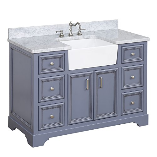 Zelda 48-inch Bathroom Vanity (Carrara/Powder Gray): Includes a Carrara Marble Countertop, Powder Gray Cabinet with Soft Close Doors & Drawers, and White Ceramic Farmhouse Apron ()