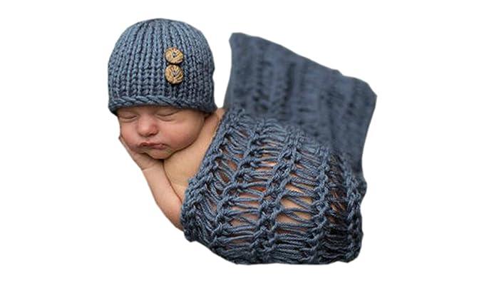 Deley Unisex Baby Decke Hut Kostüm Kleinkind Kleidung Outfit Häkeln Stricken Foto Requisiten 0 6 Monate