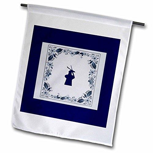 3dRose Kultjers Fun - Delft blue tile windmill - 18 x 27 inch Garden Flag - Tile Windmill