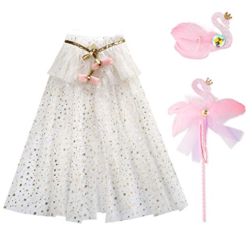 PinkSheep Cape and Magic Wand Set for Girl, 3pcs Princess White Cape, Swan Wand and Hair Clips]()