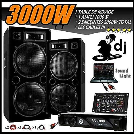 Sono DJ Pack 3000 W completo + mesa de mezclar USB + 2 altavoces ...