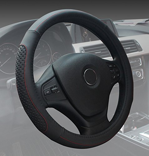 Black Steering Wheel Cover Leather Auto Car Standard Size 14.5