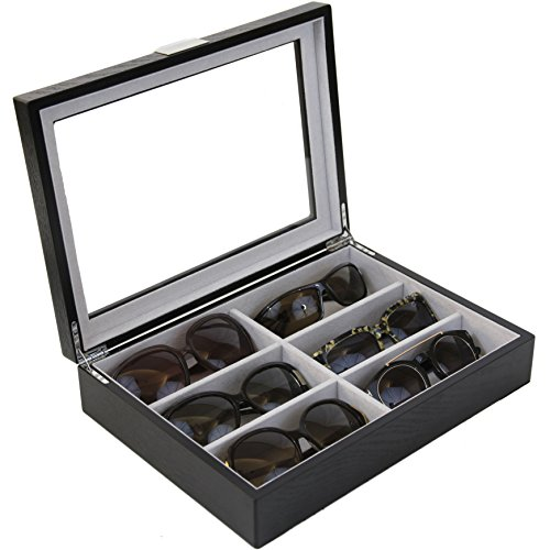 Sunglasses Eyeglasses Storage Display Case 6 XL Compartments Wood Engravable (Black)
