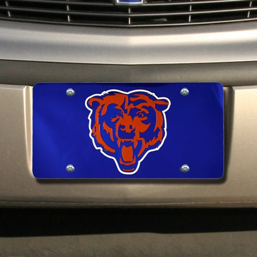Chicago Bears Laser Cut Navy License Plate (Laser Bears Chicago Plate License)