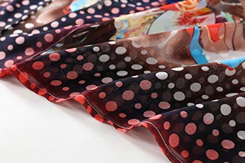 WEIYAN Women's Summer Tops Loose Chiffon Kimono Cardigan Blouse (Big Flower, M) by WEIYAN (Image #7)