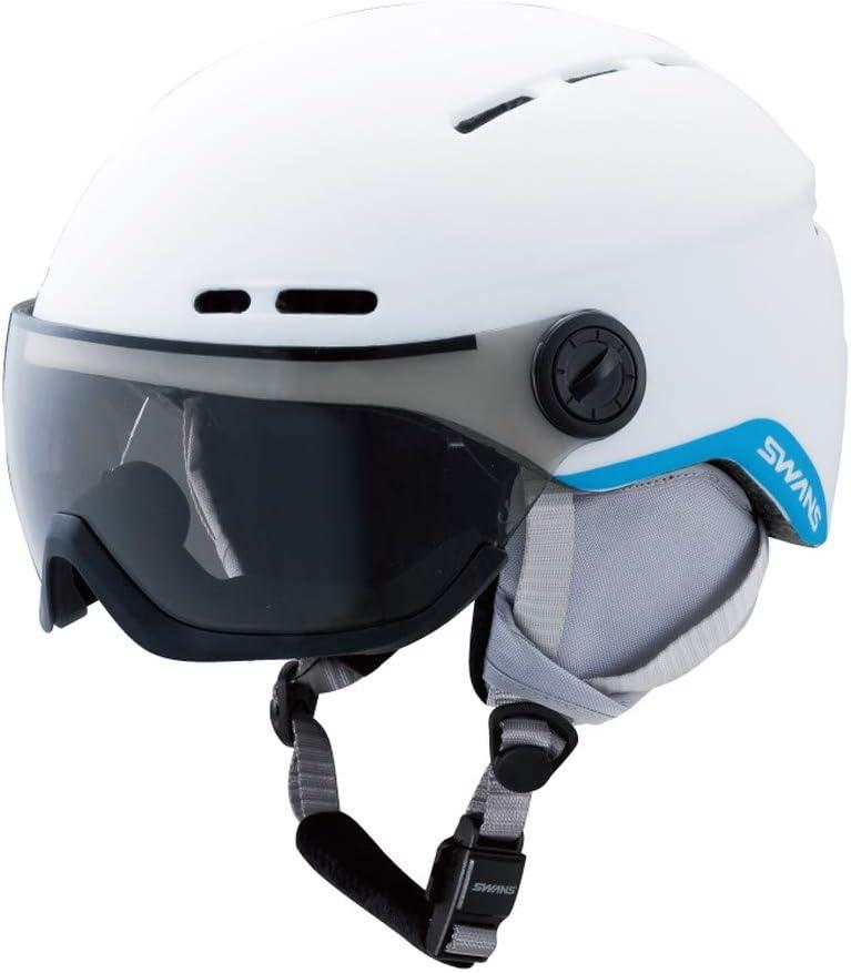 SWANS(スワンズ) スキー スノーボード ヘルメット 子供用 フリーライド バイザー付き ダイヤル式サイズ調整 H-80 マットホワイト