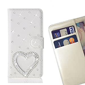 - Love Heart/ Slot Card Flip Case Cover Skin Bling Rhinestone Crystal Leather - Cao - For Sony Xperia Z3 / L55T