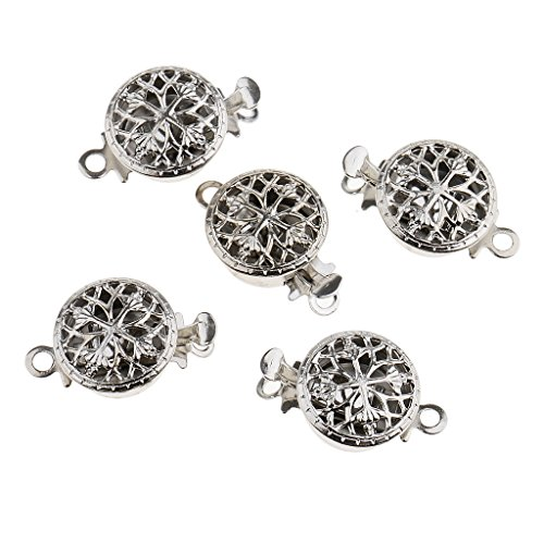 MagiDeal 5 Sets Hollow Filigree Flower Pinch Push Clasps 15x10mm Vintage Silver Buckle Bracelet Ends Clasps DIY Jewelry Making Necklace Findings Accessories -