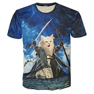 Rxbc2011 Men's Short Sleeve Top 3D Printed Wizard Cats T Shirt