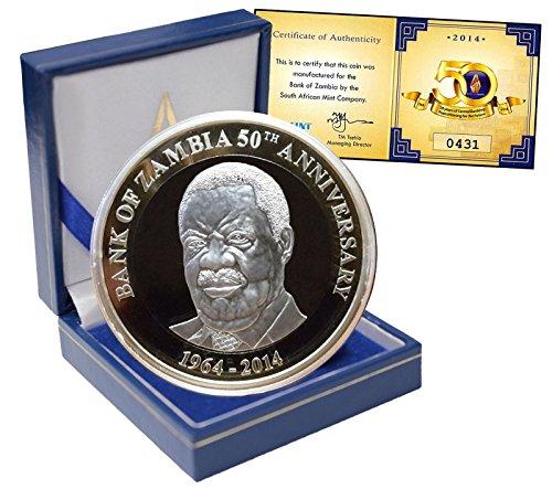 2014 Zm 50Th Bank Anniversary Zambia 50 Kwacha  24 5 G Ni Cu Coin  2014  Km 28  50Th Bank Anniversary 50 Kwacha Uncirculated Zambia Mint