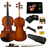 Glory 4/4 Solid Wood Violin with Case, Shoulder Rest, Bow, Rosin and Extra Strings -Black Accessory Fitted