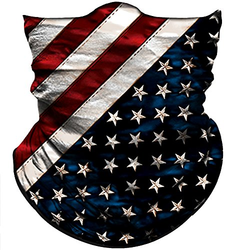 Obacle Motorcycle Face Mask Sun UV Dust Wind Protection Tube Mask Seamless Bandana Face Mask for Men Women Bike Riding Cycling Biker Fishing Outdoor Festival (US Flag Deep Blue Line) ()