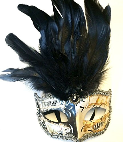 Venetian Style Masquerade Feather Mask Halloween Music Notes Adult Men Women New (Music Masquerade Mask)