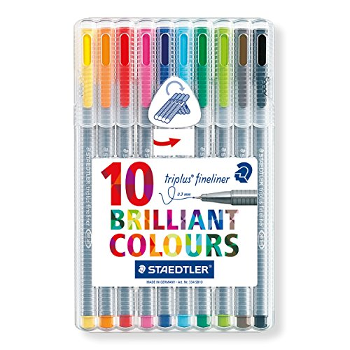 Staedtler Triplus Fineliner 0.3 mm Porous Point Pen 334 - SB10, 10 pack - Twinkle Flowers