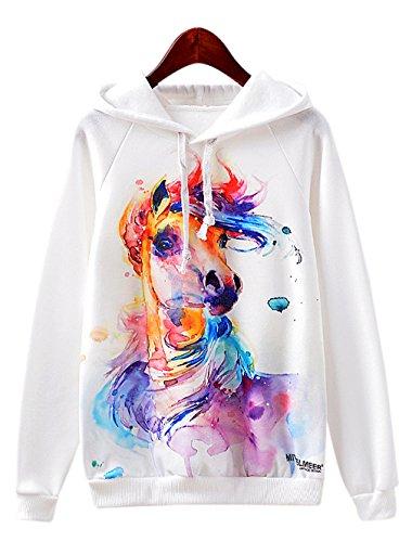 RAISEVERN Colorful Horse Painting Print Hipster Drawstring Hoodie Pullover Sweatshirt