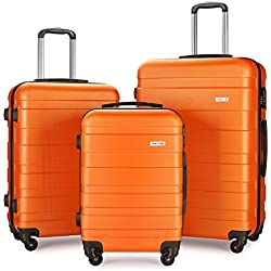 "Luggage Set Spinner Hard Shell Suitcase Lightweight Carry On - 3 Piece (20"" 24"" 28"") (Orange)"