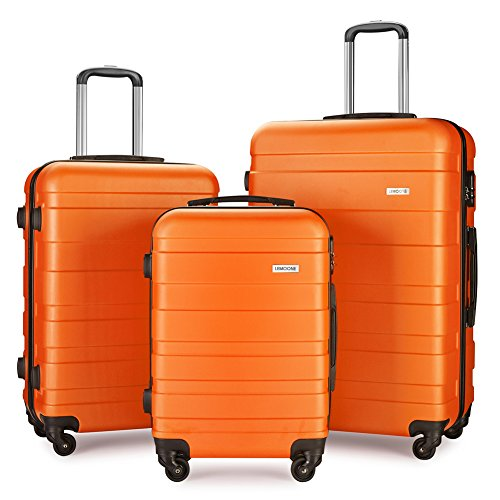 Luggage Set Suitcase Lightweight Carry On (Orange) by LEMOONE