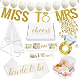 Bachelorette Party Decorations Kit//Bridal Shower Supplies + Cheers Gift Box: Veil & Bride-to-Be Sash, Bridal Tattoo Collection, Gold Ring Confetti, Diamond Ring Balloon + 12 Pearl Latex Balloons
