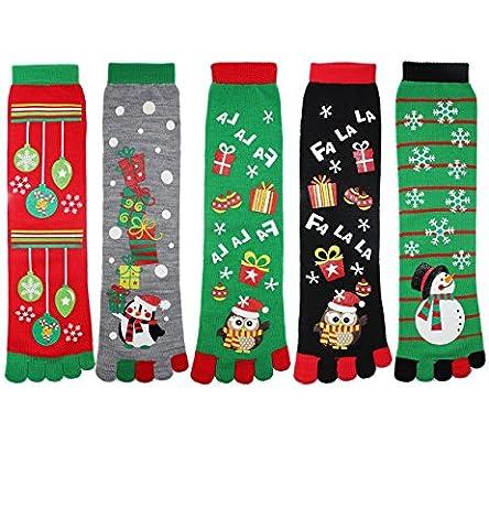 Zmart Women Girls Colorful Cotton Crew Toe Christmas Socks - Childrens Toe Socks